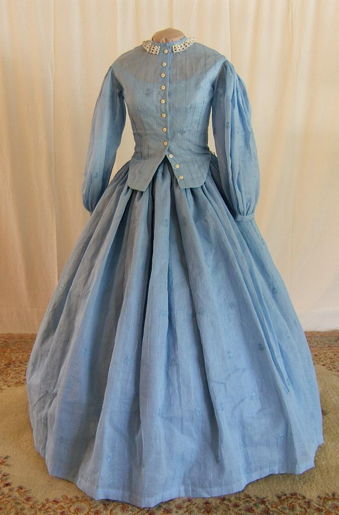 This charming Breezy Blue Cotton Voile Civil War Day Dress is just